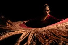Young Woman Dancing Flamenco O...