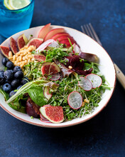Healthy Fig Salad Bowl Side View