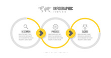 Business Infographics Template. Timeline With 3 Arrow Steps, Three Number Options. Vector