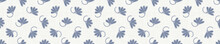 Seamless Tossed Floral Border Pattern. French Blue Linen Shabby Chic Style. Hand Drawn Country Bloom Banner. Rustic Woven Background. Kitchen Towel Home Decor Swatch. Simple Flower Ribbon Trim Edge.