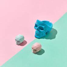 Three Colorful Skulls With Sha...