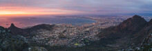 Cape Town Cityscape From Table Mountain At Sunset