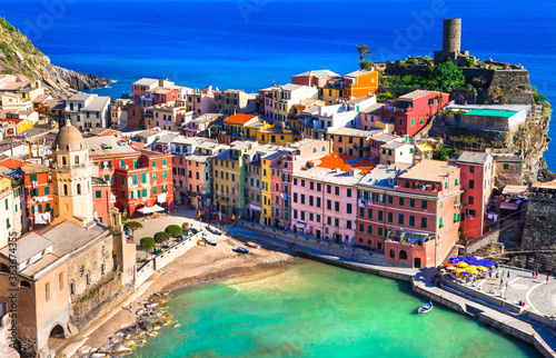 Italy travel and landmarks - beautiful Vernazza traditional fishing village in Liguria coast Wallpaper Mural