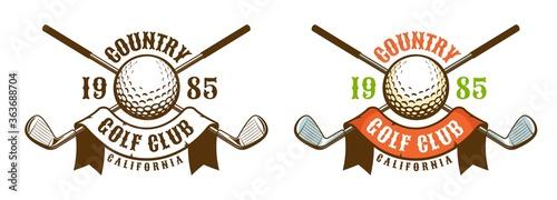 Fototapeta Golf game retro sport emblem