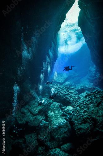 Billede på lærred People Scuba Diving In Sea