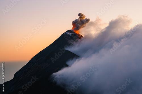Obraz na płótnie View Of Volcano During Sunset