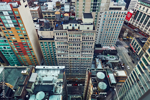High Angle View Of Modern Buildings In City Of Manhattan Newyork