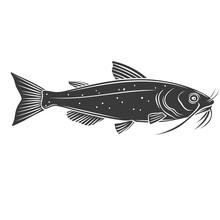 Catfish Fish Glyph Icon.