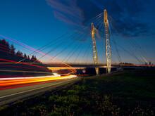 Light Trails On Bridge In City...