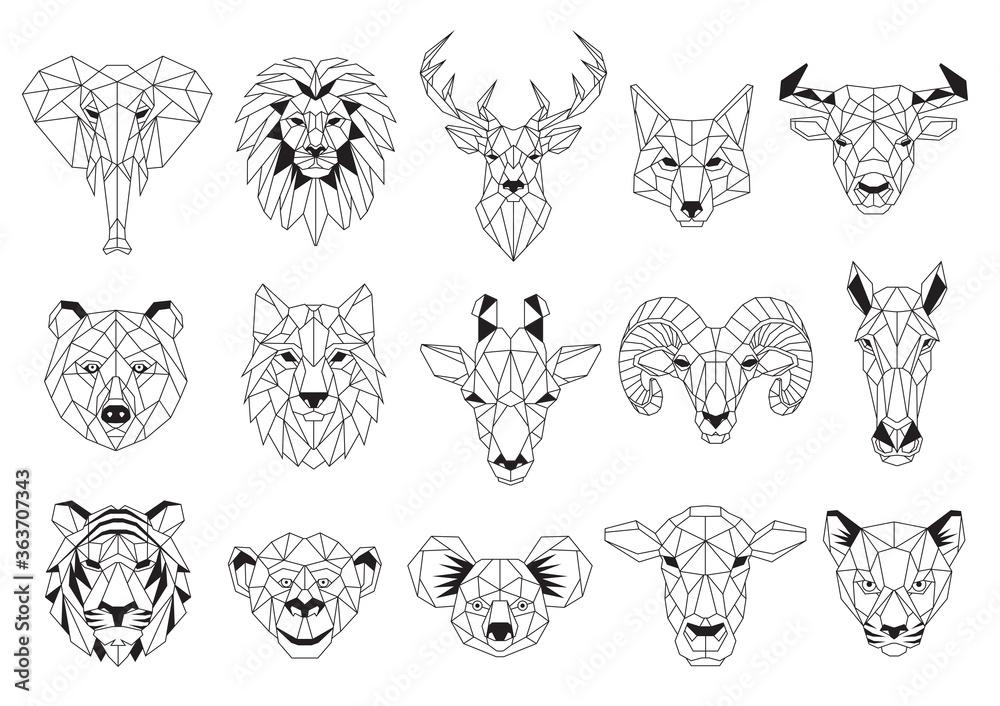 Fototapeta Set of Geometric abstract animals. Black animals on white background. Trendy mono line vector design