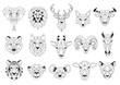 Set of Geometric abstract animals. Black animals on white background. Trendy mono line vector design