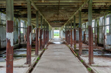 Interior View Of The Abandoned Milk Barns On The Property Of The Northern State Mental Hospital. Closed In 1976 The Dairy Barns On The Property Are Now Part Of The Northern State Recreation Area, WA.