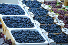 High Angle View Of Grapes For Sale At Market Stall
