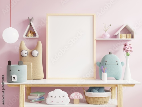 Fototapeta Mock up posters in child room interior, posters on empty pink wall background. obraz