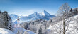 Leinwandbild Motiv Maria Gern Church On Snowcapped Mountains Against Blue Sky