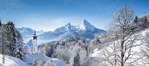 Stampa su Tela Maria Gern Church On Snowcapped Mountains Against Blue Sky