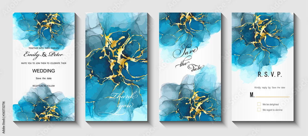 Fototapeta Modern creative design,  background marble texture. Wedding invitation.  Alcohol ink. Vector illustration.