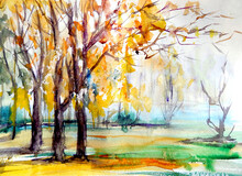 Watercolor Drawing Of Autumn F...