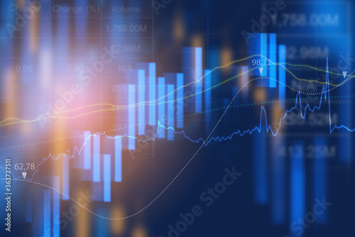 Fototapeta business analysis and financial graph and stock market report in blue tone for economic background obraz
