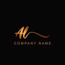 AL Letter Luxury Gold Handwrit...