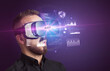 Leinwanddruck Bild - Businessman looking through Virtual Reality glasses with AUDIT inscription, new business concept
