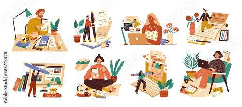 Photo Set of professional journalist, copywriter, content manager, blogger with laptop, pencil, book