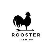 Rooster Arrow Weathervane Logo Vector Icon Illustration
