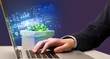 Leinwanddruck Bild - Businessman working on laptop with GENETIC ENGINEERING inscription, cyber technology concept