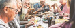 Leinwandbild Motiv Friends Enjoying Food And Drinks In Social Gathering