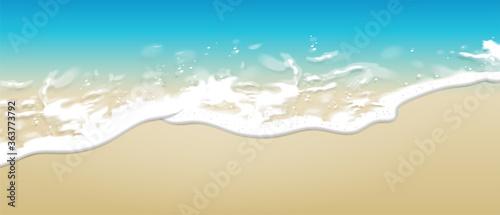Fototapeta Summer background. Transparent sea wave on the sandy shore.  3D vector. High detailed realistic illustration. obraz