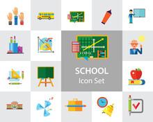 School Icon Set. School Pencil...