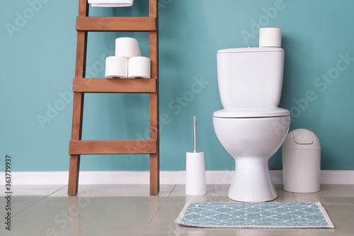 Fototapeta Modern toilet bowl in interior of restroom obraz
