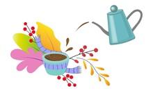 Autumn Leaves And Tea Sets. Fr...