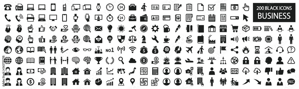 Fototapeta Simple black and white icon set for business
