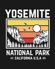 Yosemite, National Park Vector Print Design, For T-shirt Pints, Posters And Other Uses.