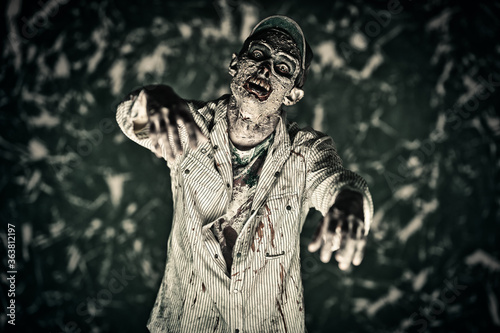 scary bloodthirsty zombie Canvas Print