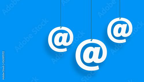 Vászonkép indirizzo, posta elettronica, appesa ad un filo