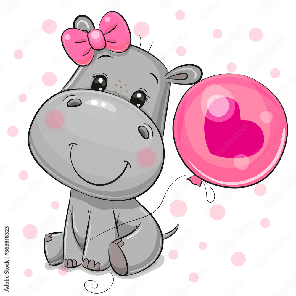 Fototapeta Cartoon Hippo girl with a balloon on a white background