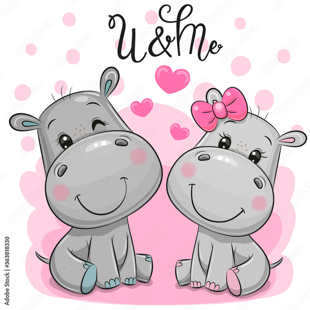 Fototapeta Cute Cartoon Hippos on a pink background