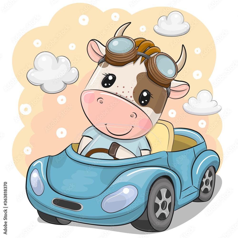Fototapeta Cartoon Bull in glasses goes on a Blue car