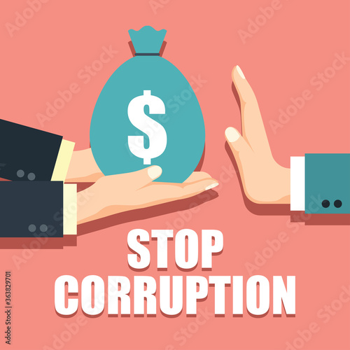 Slika na platnu stop corruption concept businessman hand refusing corruption money, vector illus