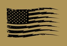 Stencil In Black Of American Flag On Brown Background