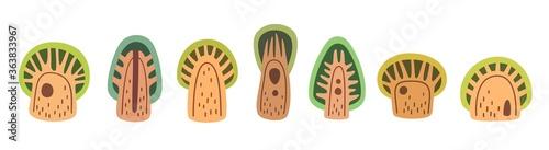 Folk art cartoon trees icon collection, flat vector stock illustration Fototapet
