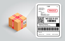 Shipping Label On Cardboard Box Template. Barcode And Qr Code For Scanning. Postal Fragile Sign And Scotch Tape. Real Life Mockup. Cargo Sticker With Adress. Vector Illustration Banner Design.