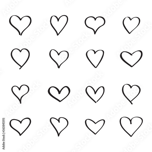 Leinwand Poster Outline heart icons