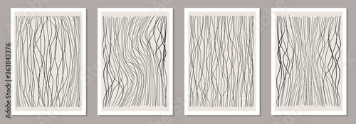 Obraz Trendy set of abstract creative minimalist artistic hand drawn line art composition - fototapety do salonu