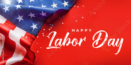 Obraz na płótnie Happy Labor day banner, american patriotic background with USA flag