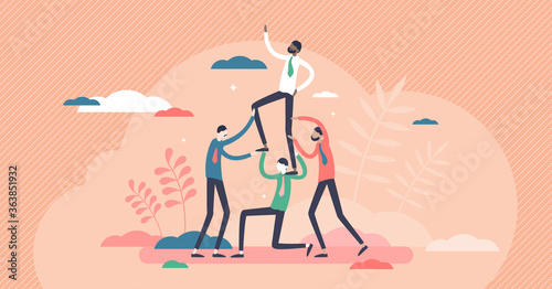Canvas-taulu Teambuilding activity with partnership support training tiny person concept