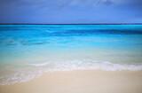 Fototapeta Kuchnia - Tropical Maldives beach with white sand and blue sky.