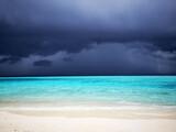 Fototapeta Kuchnia - Tropical Maldives beach with turquoise blue water and rain sky.